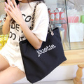 Retro fashion canvas bag shoulder bag big chain handbag jouetie metal chains