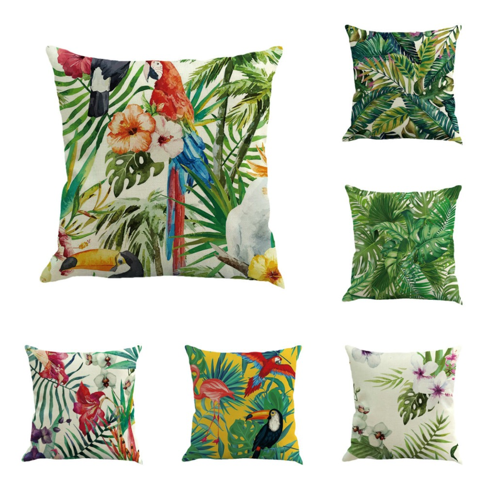 45cm*45cm Tropical Plants Cushion Cover Green Leaves Parrot Pillow Cover Cushion Case Sofa Bed Home Car Decorative