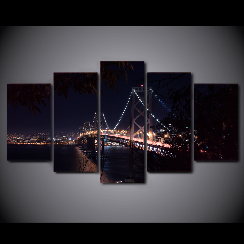 Canvas Frame Art Print Painting Modular Poster Wall Picture 5 Panel San Francisco Bridge City Night For Living Room Home Decor