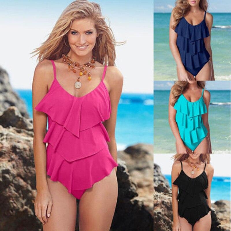 2018 Brand New Sexy Women One-Piece Swimsuit Bandage Bikini Push-up Padded Bra Bathing Ruffled Swimwear Solid Tankini Wholesale jenni new pink solid ruffled chemise l $39 5 dbfl