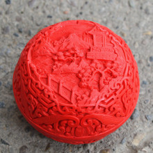 Exquisite Chinese Flower Red Cinnabar Lacquer Beautiful Landscape Auspicious Jewelry Box