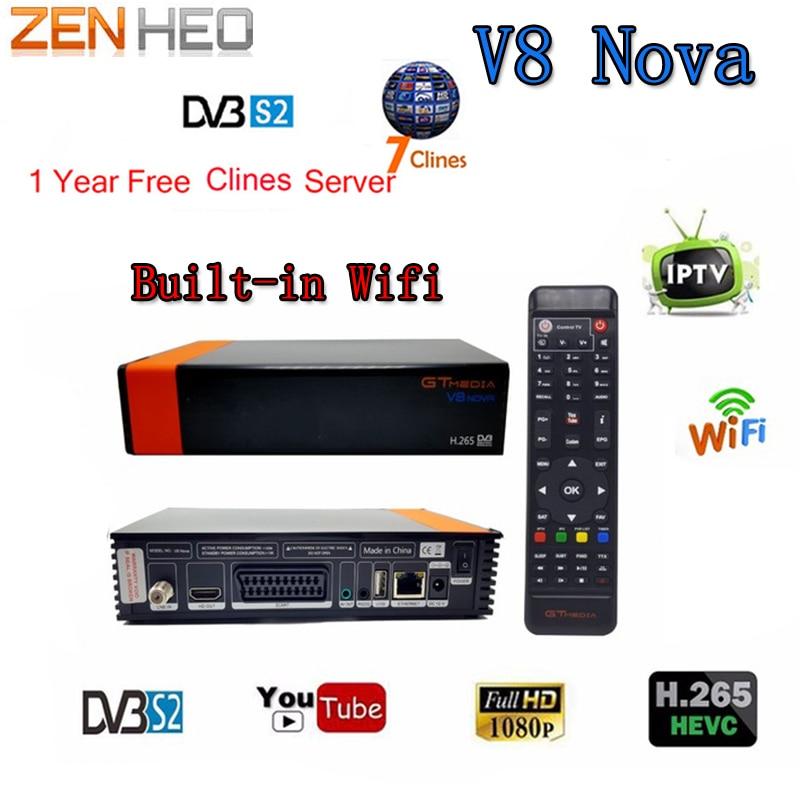 V8 NOVA same as V9 SUPER, DVB S2 satellite receiver, Builtin wifi, support H.265, AVS+ 1 Year Europe Clines Server FULL HD 1080P