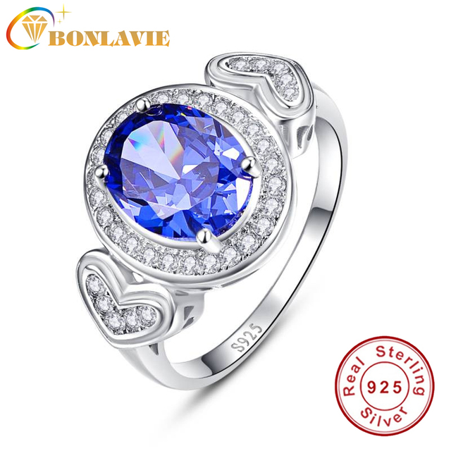 Bonlavie Women's 4.3ct Oval Cut Blue Tanzanite 925 Sterling Silver Ring Wedding Engagement Ring oWrOFcFTQP