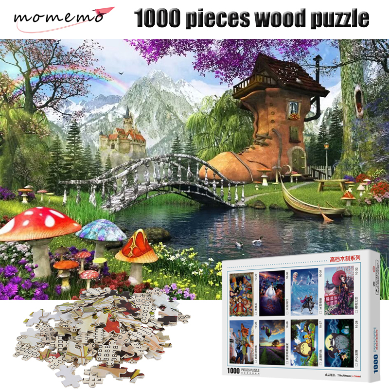 MOMEMO Fairy Tale World 1000 Pieces Adult Puzzle Wooden Puzzle Cartoon Jigsaw Puzzles for Children Educational Toys Home Decor
