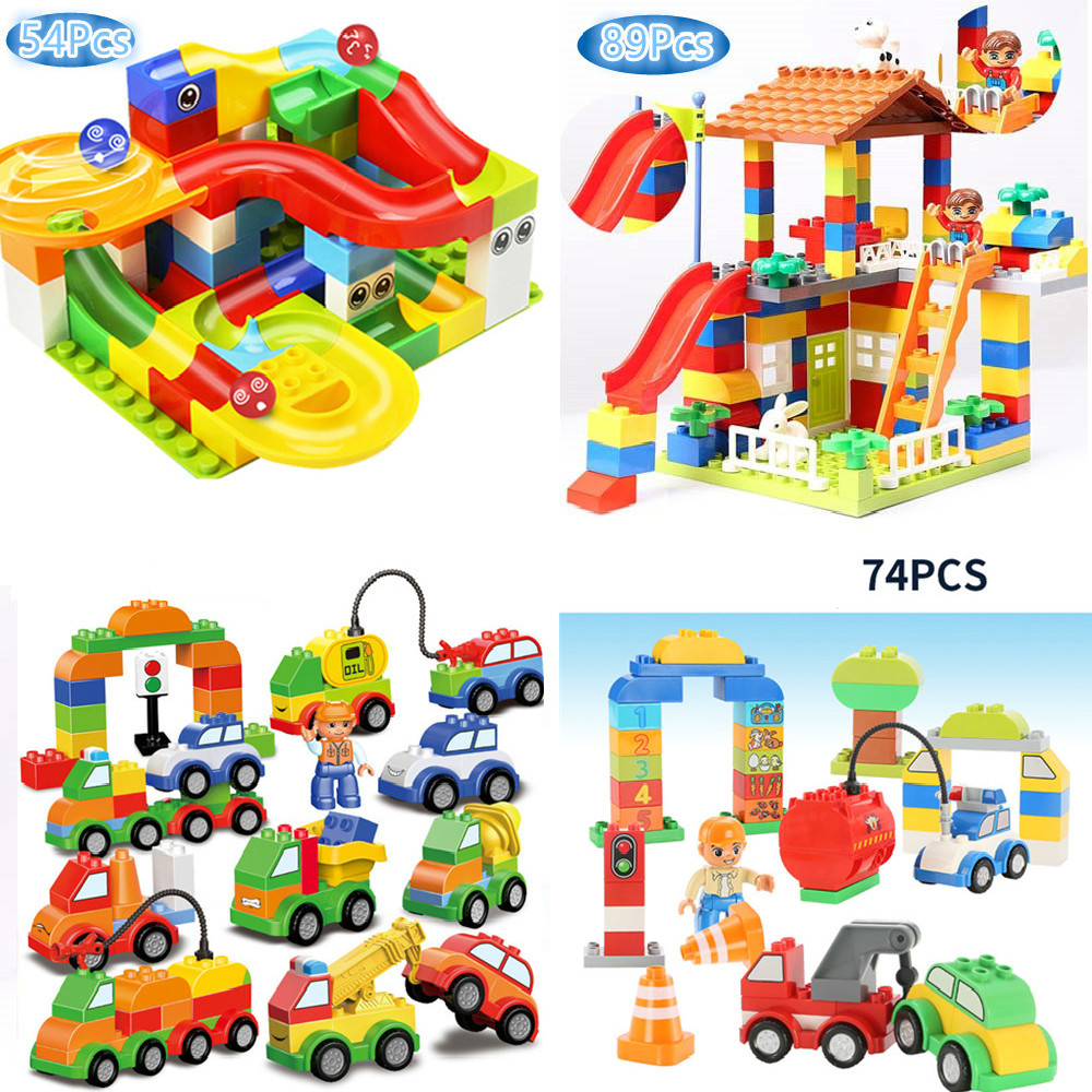 89Pcs DIY Big Bricks Colorful Race Run Track Balls House Car Rolling Building Blocks Toy for Children Compatible LegoINGLY Duplo big bricks building blocks base plate 51 25 5cm 32 16 dots baseplate diy bricks toy compatible with major brand blocks