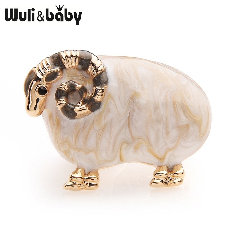 Wuli&baby Sheep Ram Buck Enamel Brooches For Women And Men Alloy Animal Banquet Party Brooch Gifts Hats Scarf Accessories