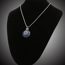 Women's Retro Style Chain Necklace with Colorful Flower Themed Pendant