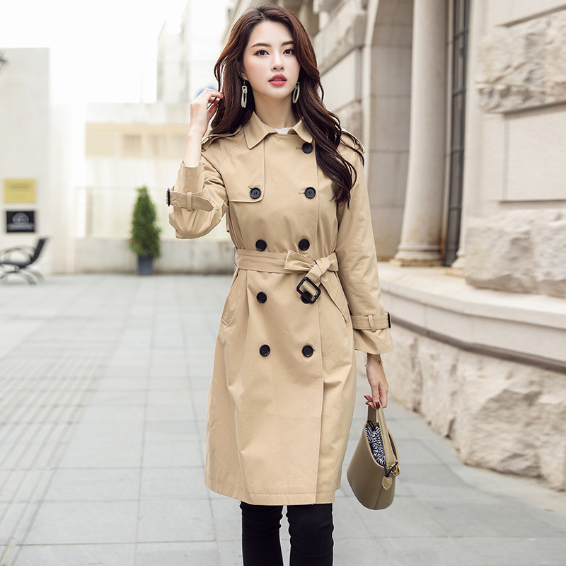 Ailegogo New Spring Long   Trench   Coat Women Casual Slim Double Breasted Epaulet OL M-2XL Coat Female Tops Clothing