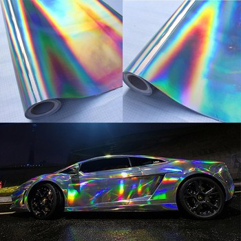 30*100cm Silver Laser Chrome Plating Vinyl Holographic Auto Car Wrap Film Rainbow Car Body Decoration Chrome Sticker Sheet Decal image