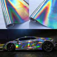 30*100cm Silver Laser Chrome Plating Vinyl Holographic Auto Car Wrap Film Rainbow Car Body Decoration Chrome Sticker Sheet Decal