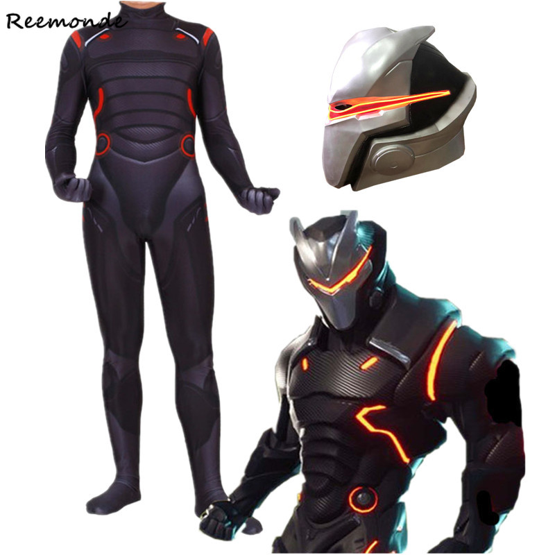 Kids Adult Game Fortnight Bodysuits Cosplay Costume Mask Omega Oblivion Link Zentai Jumpsuits For Men Boys Halloween Christmas