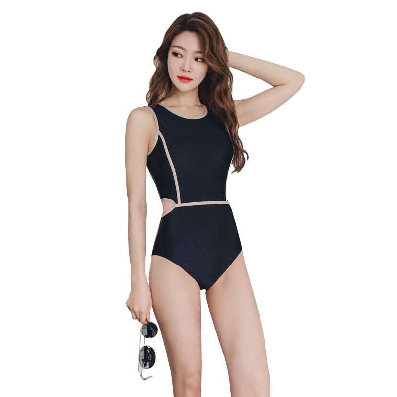 2018 New Arrival High Neck Black Monokini Swimsuit Push Up Swimwear Cut Out Sexy Swim Wear Bodysuit Beach One Piece Bathing Suit high neck one piece swimsuit women high cut thong swimwear sexy bandage trikini hollow out mesh bodysuit female zipper monokini