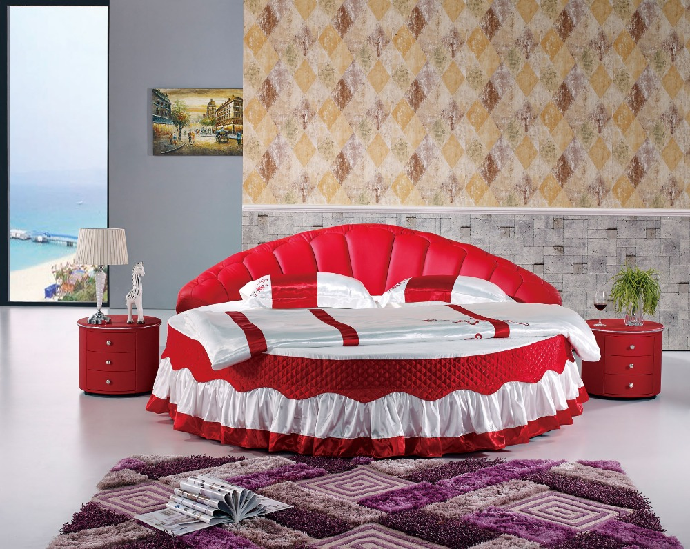 The modern design of the soft leather bed / gold / large double bedroom  furniture, modern style round bed room Delivery to port