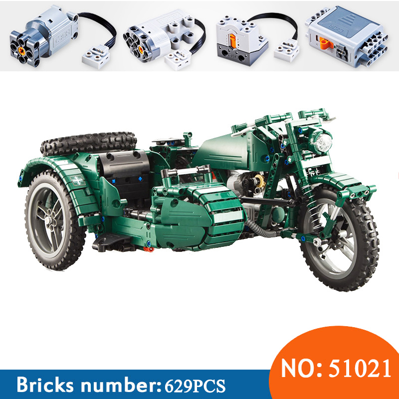 Technic Series C51021 629pcs World War II Motorcycle Technic Military Remote Control RC Building Block Weapon