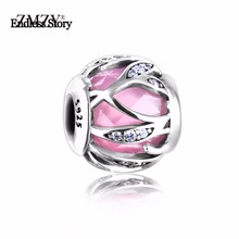 Endless Story Original 925 Sterling Silver Charm Nature's Radiance Pink Cz Beads Fit Pandora Bracelet Jewelry Making