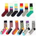 Feliz marca ideasox Socks Gradient Color párrafo del invierno del estilo británico celosía medias de algodón puro hombres de calcetines hasta la rodilla
