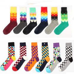 Счастливый Бренд ideasox носки градиентный цвет пункт зима Британский стиль решетки Чистый хлопок чулки мужские гольфы
