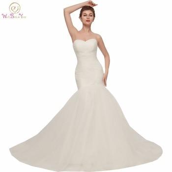 Walk Beside You Mermaid Wedding Dresses vestidos de novia 2020 Tulle Trumpet Pleats Sweep Train Vintage Bohemian Bridal Gown - discount item  21% OFF Wedding Dresses