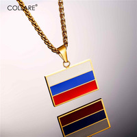 U7 Russian Flag Design Necklaces Pendants Yellow Gold Plated Stainless Steel Russian Symbol Necklace Women Men