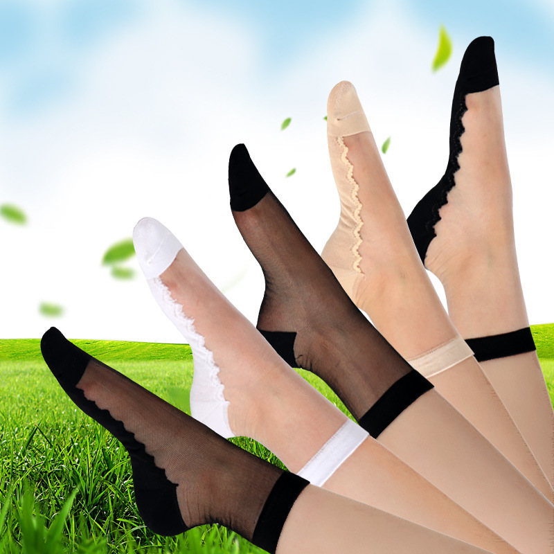 Sexy Lace Mesh Silk Fruit Fishnet Socks Fiber Transparent Stretch Elasticity Ankle Net Yarn Thin Women Socks 1pair=2pcs TMD07