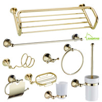 AUSWIND Modern Bathroom Product Gold Color Polish Soild Brass Bathroom Products Mounted Bathroom Accessories C56