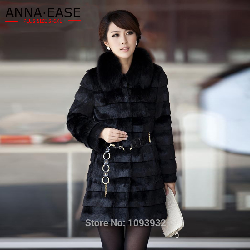 b5111f598c5 Detail Feedback Questions about Winter Women s Faux Rabbit Fur Coat Fox Fur  Collar Warm Thicken Plus Size S XXXL 5XL Faux Fur Coats Overcoat Hooded on  ...