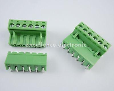 10 Pcs 5.08mm Pitch Right Angle 6 pin 6 way Screw Terminal Block Plug Connector 2EDG 50pcs 5 08mm pitch right angle 10 pin 10 way screw terminal block plug connector 2edg