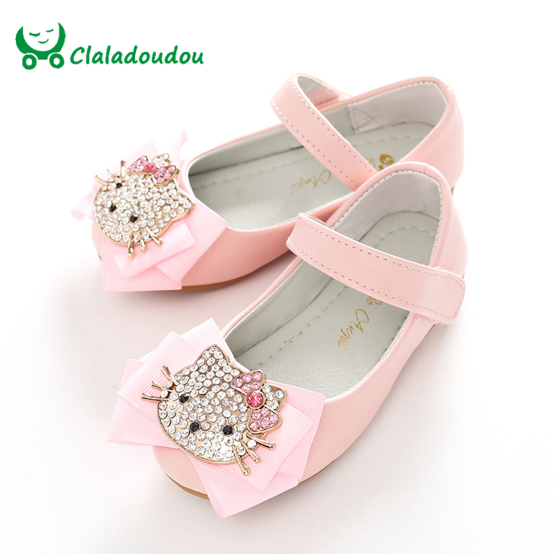 ФОТО Claladoudou 16-22.5CM Spring Girls Shoes For Kids Diamond  Hello Kitty Cute Wedding Shoes White Perform Bow Flat Walking Shoes