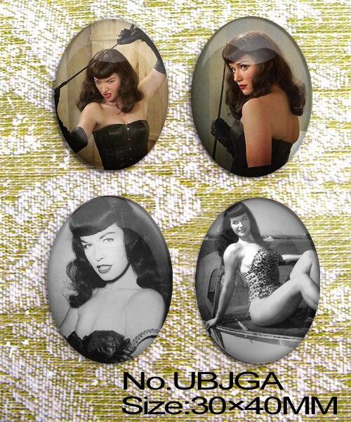Огромный сексуальный Bettie Page овальное стекло 40x30 мм кабошон UBJGA 4 шт