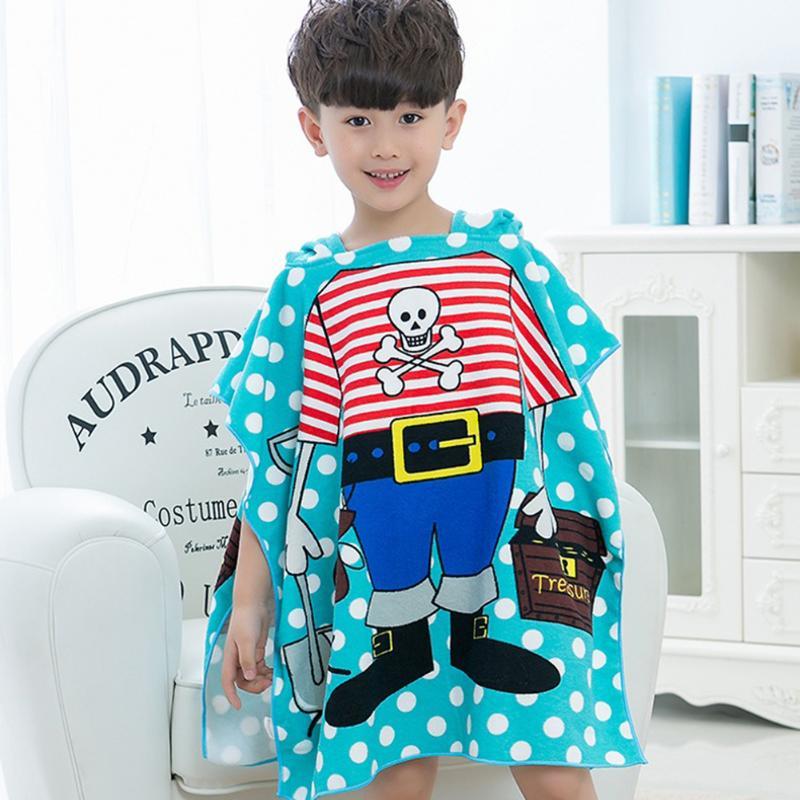 Baby Children Hooded Bath Towel Polyester Beach Towel Baby Boys Girls Mermaid Shark Pattern Cartoon Bath Towel for Baby