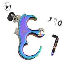 1 unidad de Tiro con Arco colorido 3/4 dedo liberación Universal mano izquierda y derecha compuesto arco ayuda agarre liberación