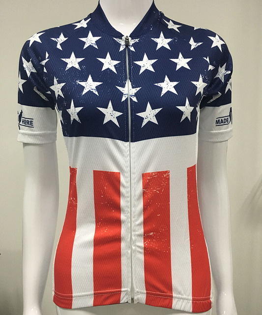 USA Flag Women s Quick Dry Cycling Jersey Outdoor Sports Bicycle Short  Sleeve Shirt Ropa Ciclismo Clothing 224003dbb
