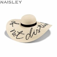 NAISLEY Staw Hot Koop Wit Borduren Brede Rand Zon Hoeden Voor vrouwen Brief Panama Jazz Gangster Hoeden Meisjes Dames Cap Reizen Cap