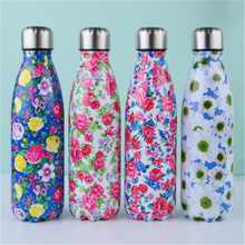 цена на Floral Thermos 500ml Premium Quality Stainless Steel Water Bottle Starry Sky Vacuum Insulated Bicycle Cold Cup Portable Bottle