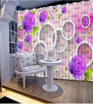 Custom 3D Curtain Bed Room Living Room Office Hotel Curtain Brick Wall Purple Flower Ring Cortinas For Bathroom Fabric Curtain