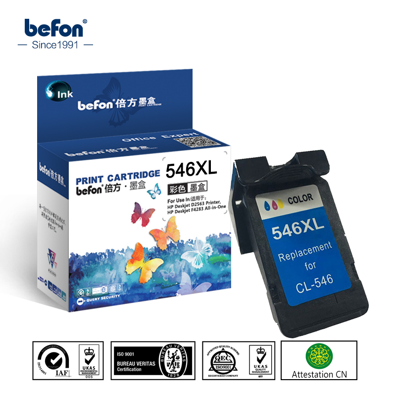 befon Re-manufactured 546XL Color Ink Cartridge Replacement for CL546 CL-546CL 546 XL for Pixma MG3050 2550 2950 MX495 IP2850 2pcs canon pg545 cl546 545xl 546xl ink cartridge compatible for canon pixma mg3050 2550 2450 2550s 2950 mx495 ip2850