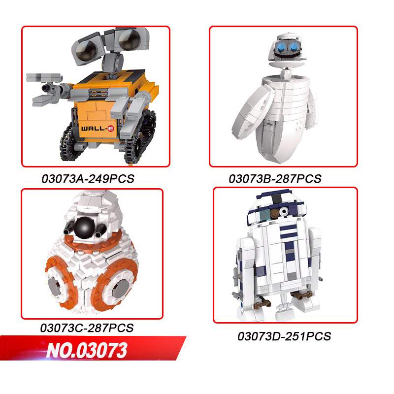 Science Fiction Film Movie Creators Smart Android Building Block Wall-e EVE Figures BB-8 R2-D2 Super Robot Brick Toys Collection