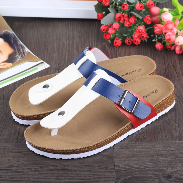 famous brand women cork sandals 2016 new designer mixed colors flip flops unisex slippers zapatos mujer big size 35-44 slipper