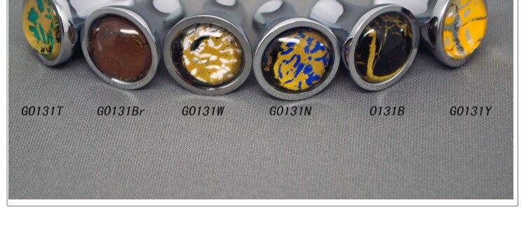 12 pièces Millefiori Couleur Vaidurya Verre Armoire Tiroir Poignées De Porte et de Traction de Garde-Robe (Diamètre: 17mm)