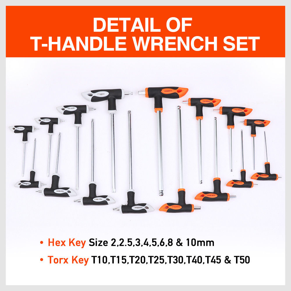 Tools : 16Pcs T Handle Set Torx Wrench Set Ball End Wrench Allen Wrench Hex Key Ball Universal Key Set Wrench Auto Repair Tools