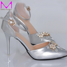 Stiletto Heel Handcraft Wedding Shoes Silver Pointed Toe Ankle Straps Bridal Dress Shoes Lady Formal Dress Pumps Banquet Heels
