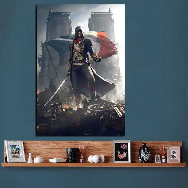 Assassins Creed Unity Canvas Painting Print Living Room Home Decoration Modern Wall Art Oil Painting Posters Pictures Framework image