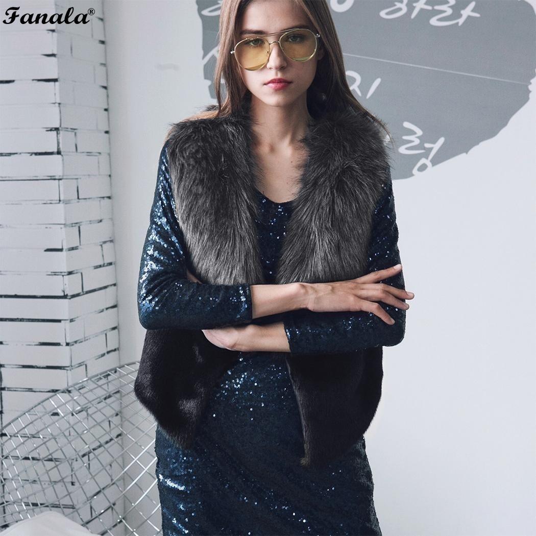 FANALA Mode Revers Faux Pelz Patchwork Weste Frauen Fleece Mantel Herbst Winter Strickjacke Sleeveless Warme Jacke Weibliche Outwear 30