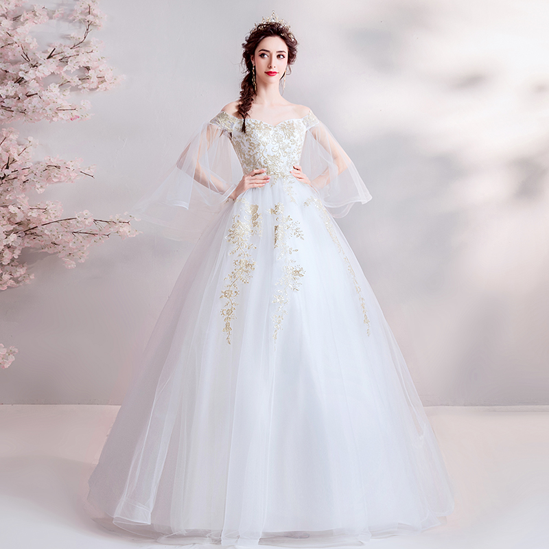 Light Wedding Dresses Off The Shoulder Puff Sleeves Full Length Princess Ball Gowns Gold Appliques Lace Up Back Bridal Gowns