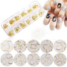 12 Grids/Box Hollow Nail Art Metal Slices (180pcs) Star/Heart/Round Gold Studs Slice 3D Charms Rhinestones ZJS02-5#