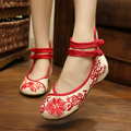 New Spring chinese delicate sunflowers embroidery women canvas shoes fashion ladies casual flats shose oxford shoes women