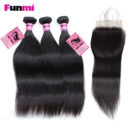 Funmi 3PCS Peruvian Straight Hair with Closure Human Hair Bundles with Closure Virgin Hair Extensions Soft and Full
