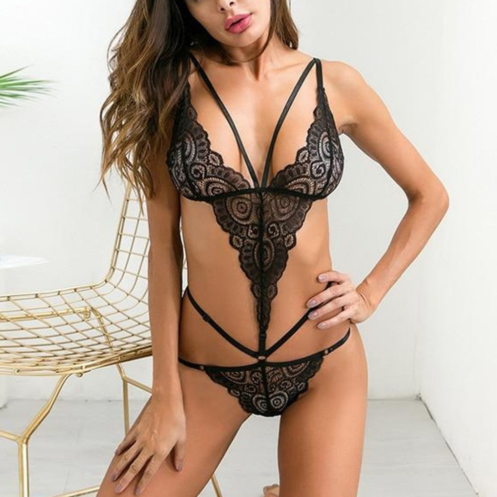 2019 Hot Sexy Erotic Costumes Lingerie Backless Lace Dress Babydoll Women's Underwear Nightwear Sleepwear Porno Teddy Langerie