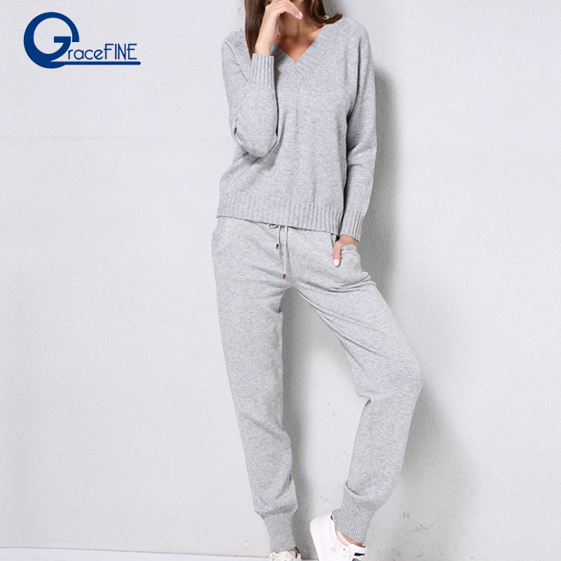 Pink WWomen Sweater Suit Winter Casual Casual Knitted Sweaters Pants 2PCS Track Suits Female Trousers+Jumper Tops Clothing Set