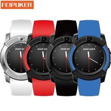 Wearable dispositivos Bluetooth Reloj Inteligente V8 Tarjeta SIM TF HD Pantalla Circular Inteligente Reloj Teléfono Reloj Para Android GV18 PK GT08